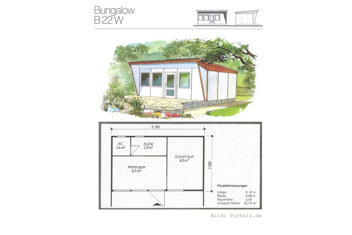 Plan DDR-Laube Bungalow W 22 B